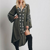 Flower Embroidered Tunic  Army green