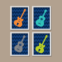 GUITAR Boy Wall Art Nursery Canvas Artwork Child Music Navy Blue Orange Lime Green Gray Turquoise Chevron Print Set of 4 Prints Decor