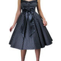 Black Plus-Size Archaize Polka-dot Dress