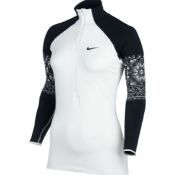 Nike Women's Pro Hyperwarm Mosaic Half Zip Long Sleeve Shirt