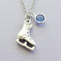 Ice Skate Necklace Skating Winter Sport Necklace Olympics Competition Team Birthday Gift Silver Jewelry Swarovski Channel Crystal Birthstone