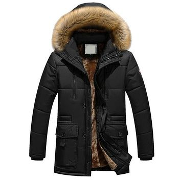 New Brand Clothing Winter Men Jacket Fashion Mens Winter Parka With Fur Hood Casual Warm Men's Coats Thick Long Parkas Homme