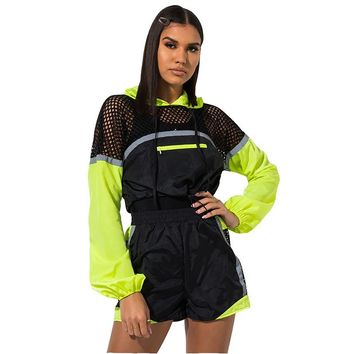 2019 New Fishnet Sexy Two Piece Set Women Tracksuit Summer Outfits Festival Mesh Top and Biker Shorts Sweat Suit Matching Sets