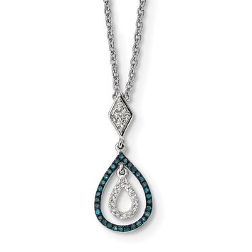 Sterling Silver, Blue & White Diamond Double Teardrop Necklace