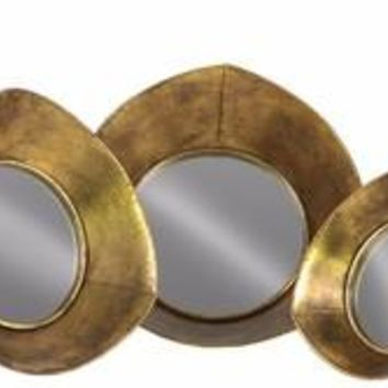 Metal Tray with Mirror Surface and Concave Sides Set of 3- Gold- Benzara