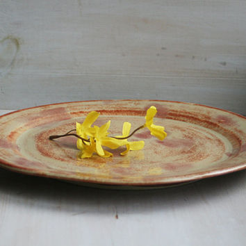 """Large Rustic Ceramic Serving Platter in Rust and Cream Glazes Handmade Centerpiece Plate Pottery Discounted """"SECOND"""" Ready to Ship! USA Made"""