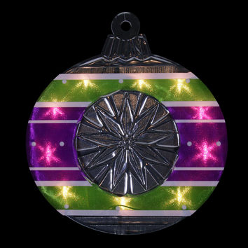 """15.5"""" Lighted Shimmering Purple, Green, White & Silver Ornament Christmas Window Silhouette Decoration"""