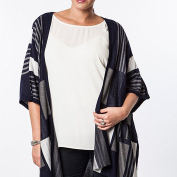 Plus Size Graphic Knit Kimono Cardigan - Midnight Navy
