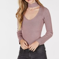 All Good Ribbed Choker Neck Top