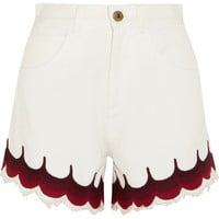 Chloé - Scalloped embroidered denim shorts