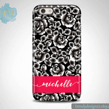 Monogram iPhone 6 case, Personalized iPhone 6s Plus case iPhone 5s case 6 plus Samsung case S6 Edge S5 S4, Black White Roses Hot Pink (62)