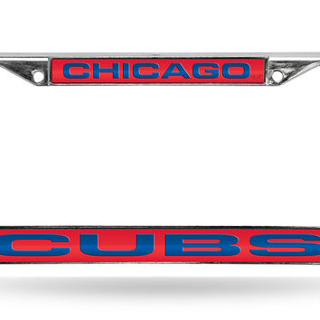 MLB Chicago Cubs Red Laser Cut Chrome License Plate Frame