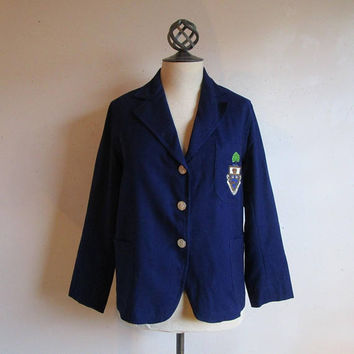 Dark Blue Late 50s Varsity Blazer U of T University of Toronto Crest 1950s Wool School Womens Jacket Medium