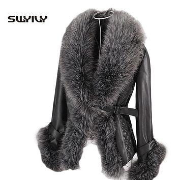 Women Winter Leather Coat Vintage Fur Collar Jackets , Warm Waterproof Overcoat Black Big Size 4XL