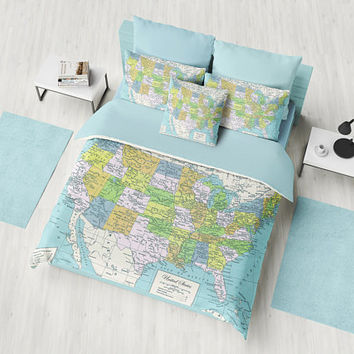 United States Duvet Cover or comforter,  bed bedroom, travel decor, cozy soft, blue,  atlas, America geography, cartography