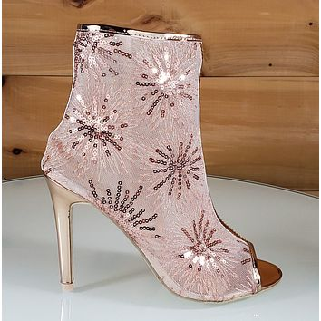 "Mac J Rose Gold Sequin Mesh Open Toe Ankle Boot - 4"" High Heel Shoes"