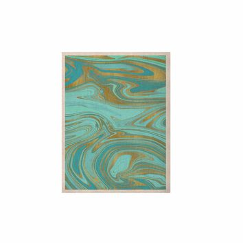 "Cafelab ""Light Water And Gold"" Teal Gold Abstract Celestial Mixed Media Painting KESS Naturals Canvas (Frame not Included)"