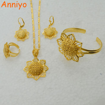 Anniyo Gold Color Ethiopian set Jewelry Pendant Chain Earrings Ring Bangle Bride Wedding Africa Flower Jewellery #054706