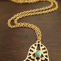 Dainty jewelry Gold plated Hamsa Charm turquoise bead necklace