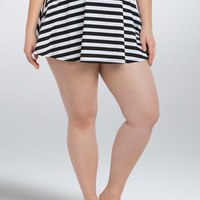 Striped Skater Skirt Swim Bottom