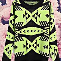 College Geometric Sweater Neon Lime