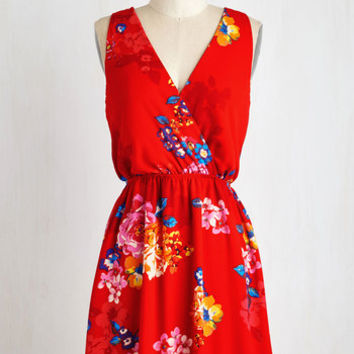 Mid-length Sleeveless A-line And I Love Fleur Dress in Ruby