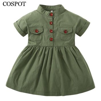 COSPOT 2018 New Baby Girls Dress Plain Green Short Sleeved Summer Casual Princess Party Dresses Girl's Girl Free Shipping 48C