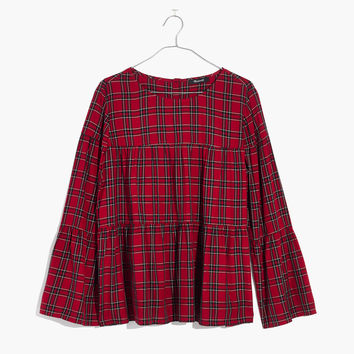 Plaid Tiered Button-Back Top : shopmadewell tops & blouses | Madewell