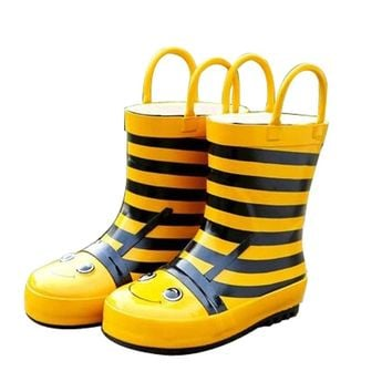 Cute Starry Kids' Rain Boots Yellow Bee Children Rainy Days Shoes 19.2CM