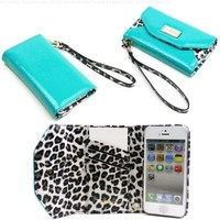 JAVOedge Leopard Wallet Case for the Apple iPhone 5 (Turquoise):Amazon:Cell Phones & Accessories