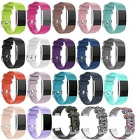 Soft Silicone Replacement Strap For Fitbit Charge 2 Heart Rate Smart Wristband Bracelet Watch Bands