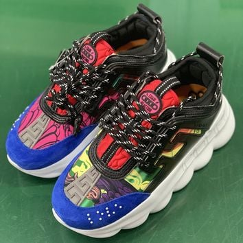 Versace Fashion Trends for Men and Women: Thick Bottom and Low Band Leisure Sports Shoes