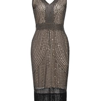 Apricot 1920s Sequin Fringe Flapper Dress