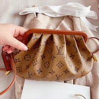 LV New fashion monogram leather two faces color shoulder bag crossbody bag handbag