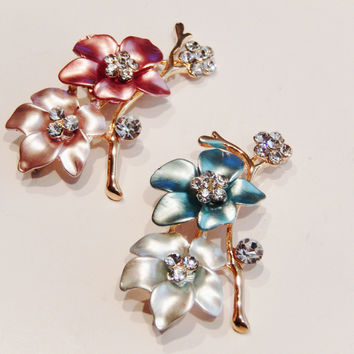 Enamel and Crystal Flowers Brooch