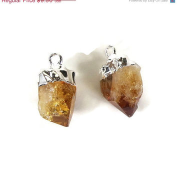 SHOP SALE Citrine Point Pendant PAIR Silver Capped Earring Set Raw Citrine Point