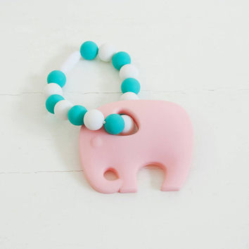 Baby Teether /Organic Eco Friendly/Sensory Toy/Pastel Pink Elephant/FREE shipping on U.S. orders