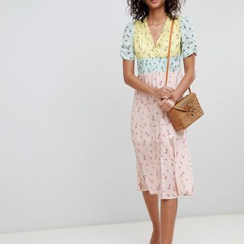 ASOS DESIGN midi mixed print pretty tea dress at asos.com