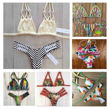 Micro Bikini 2017 Women Floral Swimwear Strappy Bandage Swimsuit Sexy Thong Biquini Halter Bathing Suit Shell Pineapple Bikinis