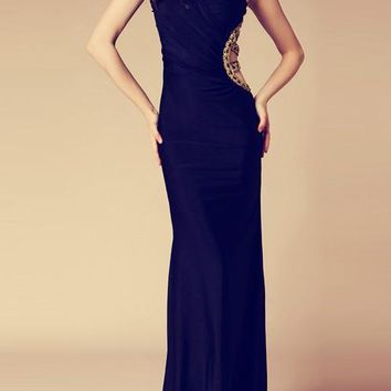 Black Patchwork Asymmetric Off Shoulder Draped Backless Sleeveless Elegant Bridesmaid Maxi Dress