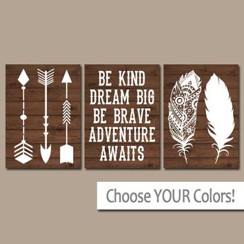 FEATHER ARROW Wall Art, CANVAS or Print, Woodland Nursery Quote Decor, Be Kind Be Brave, Dream Big, Adventure Awaits, Rustic Decor, Set of 3
