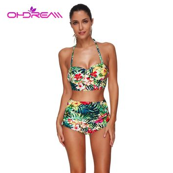 OHDREAM Green Plus Size Swimwear Push Up Bathing Suit Women Retro Bikini High Waist Floral Ruffled Two Piece Swimsuit Women -A