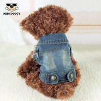 Retro Denim Dog Jacket Clothing Personalized Pet Puppy Cat Jeans Vest Coat Dog Clothes for Chihuahua Poodle Maltese XS-XXL