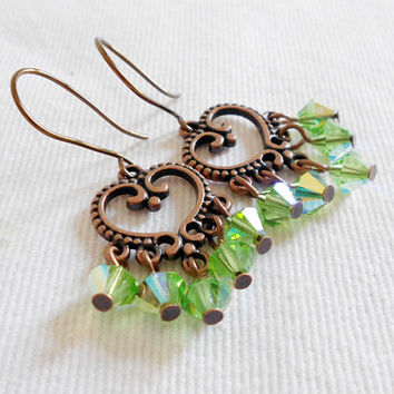 CELTIC LOVE Antique Copper Heart Chandelier Earrings with Peridot Crystals by WilwarinDesigns