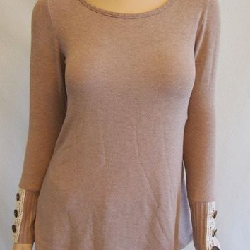 Live For The Moment Mocha Brown Tunic Sweater With Lace And Buttons