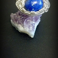 SIZE 6.5 Sterling Silver Wire Wrapped Lapis Lazuli Ring USA handmade