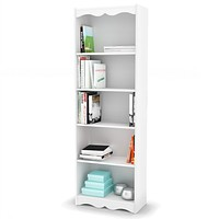 White 72-inch High Bookcase with Soft Arches & 5 Shelves