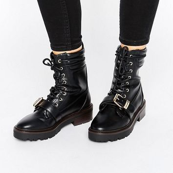River Island Lace Up Biker Boot at asos.com