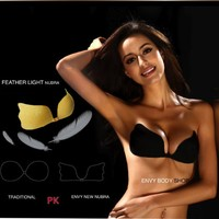 Envy Angel Wing Strapless Enhancive Push Up Invisible Adhesive Breathable Bra Nipple Cover Nude (D)