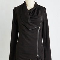 Travel Mid-length Long Sleeve Airport Greeting Cardigan in Ink